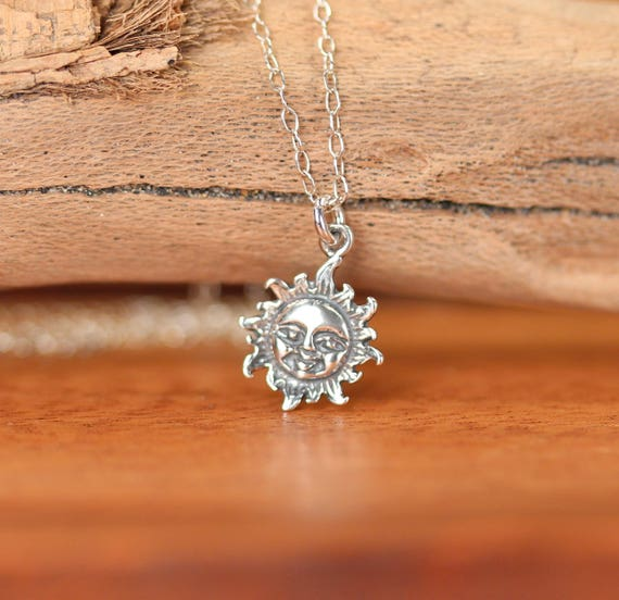 Silver sun necklace - sunshine necklace - you are my sunshine - a sterling silver smiling sun on a sterling silver chain
