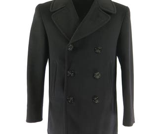 Vintage 50s Navy Peacoat Mens 38 Pea Coat Melton 8 Button Naval Clothing Depot [H05T_4-8]