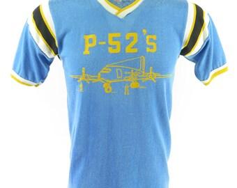 Vintage 60s Durene Airplane T-Shirt Mens L USA Made Durack Blue P-52s T Shirt [H89G_0-11]
