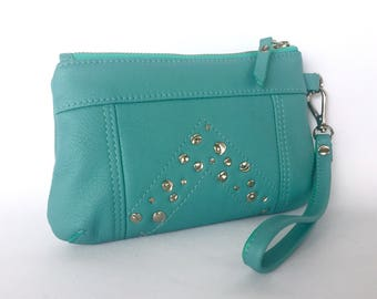 Brooke 6+ Purse: Italian bovine turquoise leather with titching and distressed rivet details