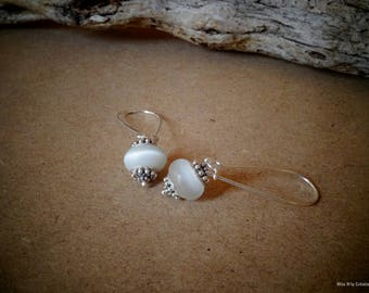 Earrings ethnic dangle earrings & white Lampwork Glass Beads with silver highlights