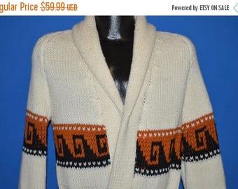XMAS in JULY SALE 70s White Zig Zag Belted Robe Sweater Medium