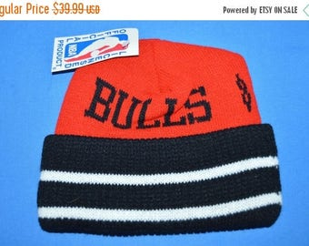 ON SALE 80s Chicago Bulls New With Tags Knit Beanie Hat