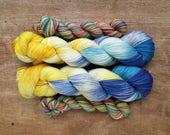 Rainbow Brite heel/toe sock set - superwash merino/nylon sock yarn (463 yd skein w/matching 100 yd skein)