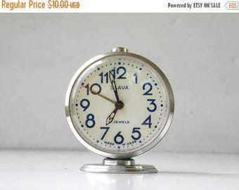 ON SALE Vintage Mechanical Alarm Clock - Slava - Made in USSR