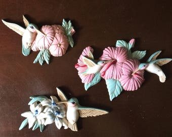 Vintage Hummingbird Plaques 1990s Wall Hangings  Set of 3 Burwood Products