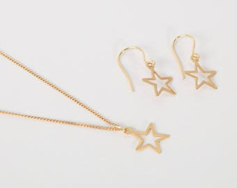 Set Gold Plated Earrings And Necklace Star Golden Starlet Star Earrings And Star Necklace