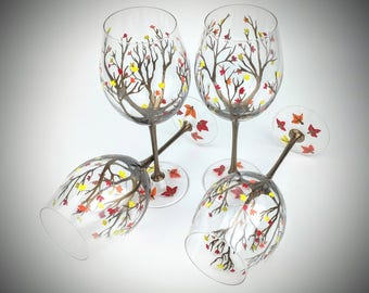 Fall leaf wine glasses, autumn leaf wine glasses, Thanksgiving wine glasses, hand painted glasses, Fall wine glass set, Fall wine glass