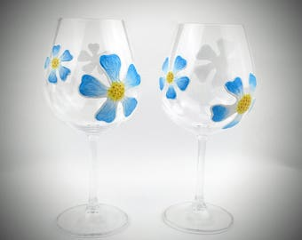 2 Blue Flower stemmed Wine Glasses, Hand Painted summer wine glasses, decorated wine glass, spring or summer wine glasses