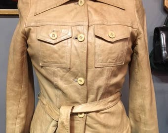 Tan 70s Fitted leather Jacket Small