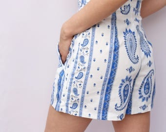 High Waisted Blue and White Shorts UK Size Small (10-12) High Waisted vintage cotton shorts handmade by The Emperor's Old Clothes