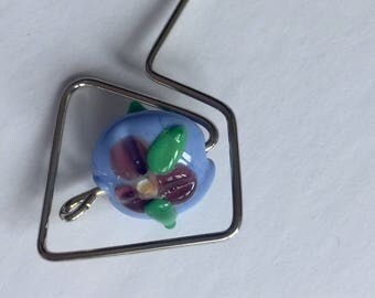 Silver orifice hook with lampwork bead handcrafted for spinning wheel