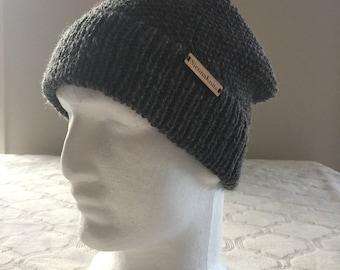 100% WOOL grey knitted beanie, men beanie, women beanie, winter beanie, knitted hat, knitted beanie, wool knit beanie, wool knit hat.