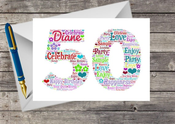 Handmade Pressed Flowers Floral Birthday Card Personalised 50th With Word Art