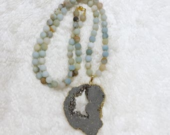 Matte Amazonite and Grey Druzy Necklace