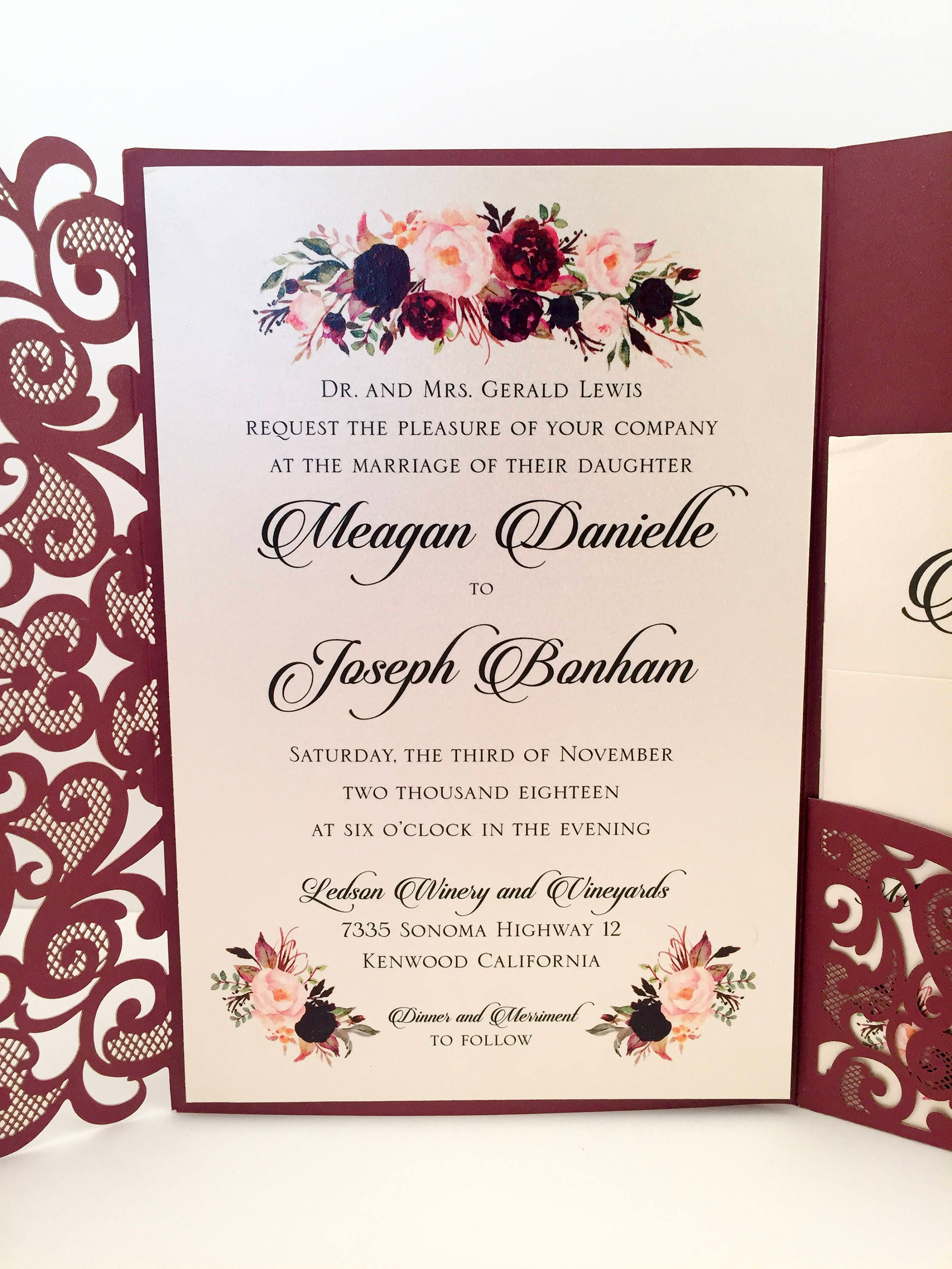 Laser cut wedding invitations marsala burgundy pocket wedding laser cut wedding invitations marsala burgundy pocket wedding invitations die cut laser cut jackets gold wedding stopboris Choice Image