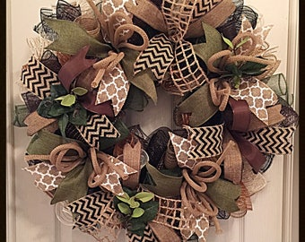 Moss , Brown and Burlap Everyday Deco Mesh Wreath/Fall Wreath/Cabin Wreath/Burlap Wreath
