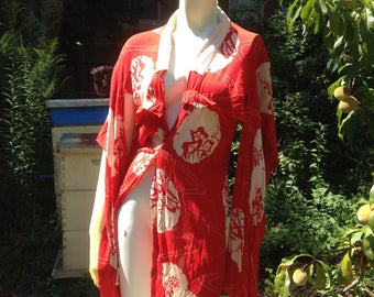 vintage silk crepe kimono, red and white, child's size