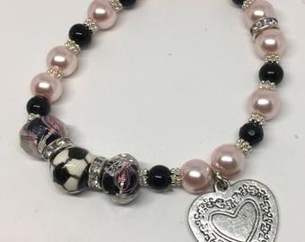 243# love of soccer pearl bracelet