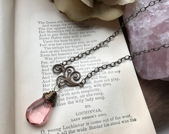 Pink teardrop jewel necklace with scrolling filigree, antique jewelry, vintage jewelry, ornate, pink, romantic jewelry, unique necklace