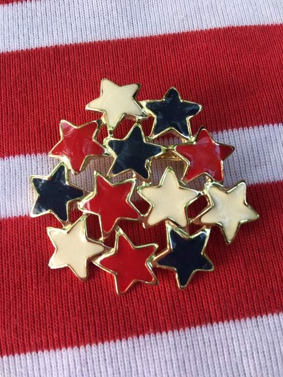 Vintage Red White & Blue Enamel Stars on Goldtone 4th of July Brooch Happy Birthday America Colors Great Retro Pin
