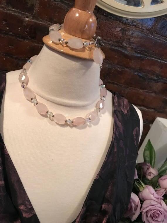 So Pretty In Pink Rose Quartz Gemstones with crystals Bracelet Necklace Set