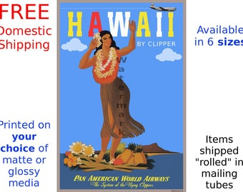 Hawaii - Vintage Airline Travel Poster (263856512)