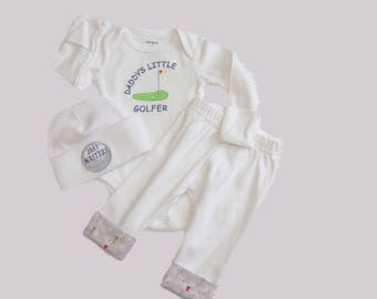 Baby Golf Outfit. Newborn Boy Coming Home Outfit. Daddy's Little Golfer Embroidered Bodysuit. Knit Pants w/ Golf Fabric Cuffs. Newborn Golf