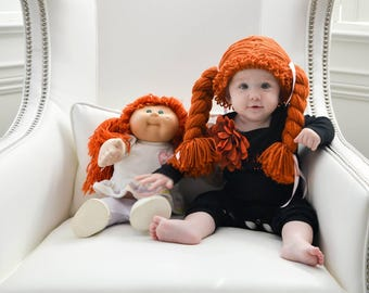 cabbage patch costume, cabbage patch wig, cabbage patch hat, baby halloween