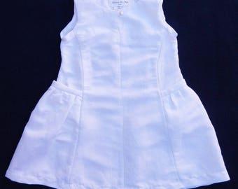 Pockets gathered white linen - 3 years girl dress