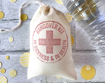 Hangover Kit Bag Individual  | Bachelorette Favor Bags Wedding Welcome Recovery Party Favor Muslin Gift Groomsmen Bachelor Bridesmaid Bridal