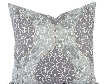 15% OFF SALE Two Decorative Pillow Covers - Purple Pillow Cover - Grey Throw Pillow - Damask Pillow Sham - Purple Damask Pillow - Accent Pil