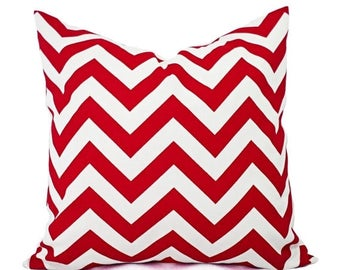 15% OFF SALE Red Chevron Pillow Cover - Red Pillow Cover - Red Accent Pillow - Red White Pillow - Red Decorative Pillow Cover -12x16 12x18 1