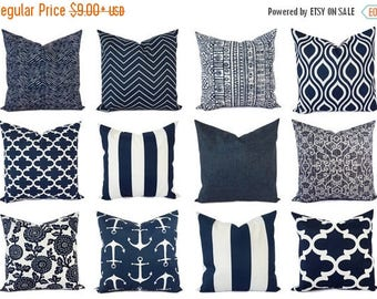 15% OFF SALE OUTDOOR Pillow - Navy and White Pillow Cover - Navy Blue Throw Pillow Cover - Navy Euro Sham - Decorative Pillow - Blue Patio P