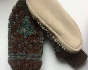 Pine tree slipper socks/moccasins with suede soles