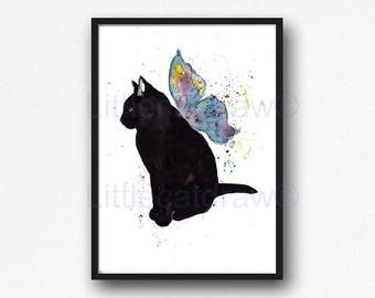 Cat Print Black Cat With Colorful Butterfly Wings Watercolor Painting Art Print Cat Print Art Print Bedroom Wall Decor Wall Art