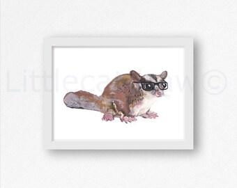 Geek Possum Cool Nerd Possum Wearing Glasses Possum Watercolor Painting Wall Art Animal Art Print Watercolour Possum Lover Gift Wall Art
