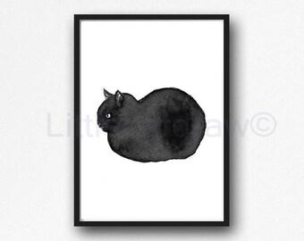 Cat Print Loaf Kitten Black Cat Watercolor Painting Art Print Kitten Cat Wall Art Cat Lover Gifts Unframed Print Wall Decor