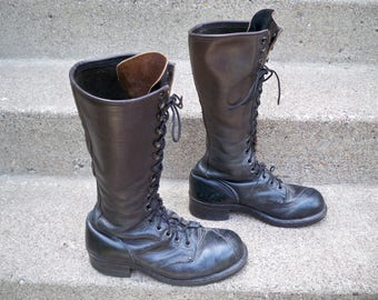 Vintage Linesman Pole Climber Black Leather Steel Toe Work Men's Boots Made by Linesman Boots MADE IN USA Size 8