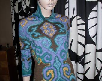 Vintage Leonard polo-neck pullover.Vintage Leonard,made in France.vintage wool polo-neck.