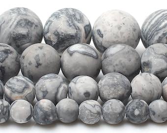 Gray Silk Jasper Beads, Natural Jasper Matte Beads, Gemstone Beads, Round Loose Stone Beads For Jewelry Making 6mm 8mm 10mm 12mm