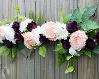 Wedding Arch Garland Plum Purple Blush Ceremony Arbor Silk Swag Arrangment Off White Faux Home Decor