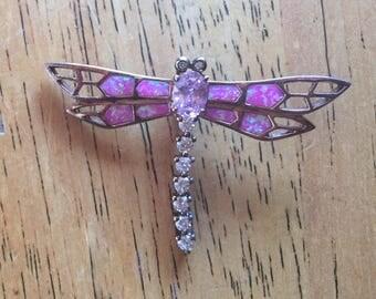 Pink Rhinestone Dragonfly Brooch