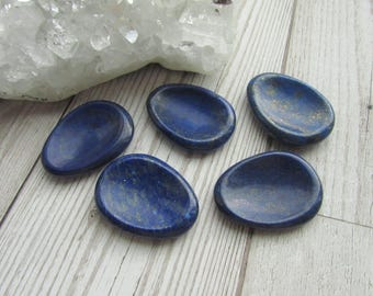 Lapis Lazuli Worry Stone - Natural Thumb Stone - Gemstone Smooth Palm Stone - Comfort Stone Blue