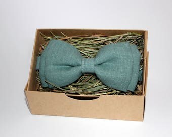 Sage green bow tie, Men's bow tie, Linen bow tie, Meadow bow tie, Bow tie for men, Bow tie for boys, Rustic bow tie, Wedding bow tie