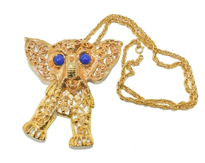 Juliana D&E Articulated Gold and Blue Elephant Pendant Necklace Large Animal Gold Filigree Verified Book Piece Jewelry Gift For Her