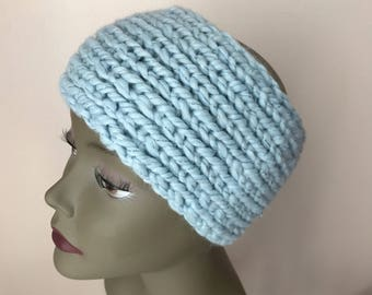 Light Blue Sparkle Head Warmer - Knitted Head Warmer - Ponytail Beanie Hat - Women Head Warmer - Chunky Headband - Mother's Day gift