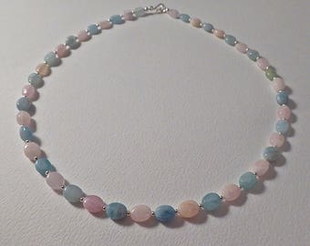 Morganite and Aquamarine Necklace with Sterling Silver