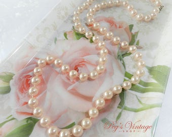 Vintage Pastel Pink Pearl Necklace, Pink Faux Pearl Bead Necklace, Wedding, Bridal Jewelry