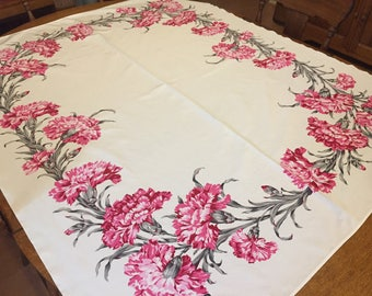 Pink Carnation Tablecloth, Vintage California Hand Prints CHP Rayon,  50 in x 64 inch rectangle